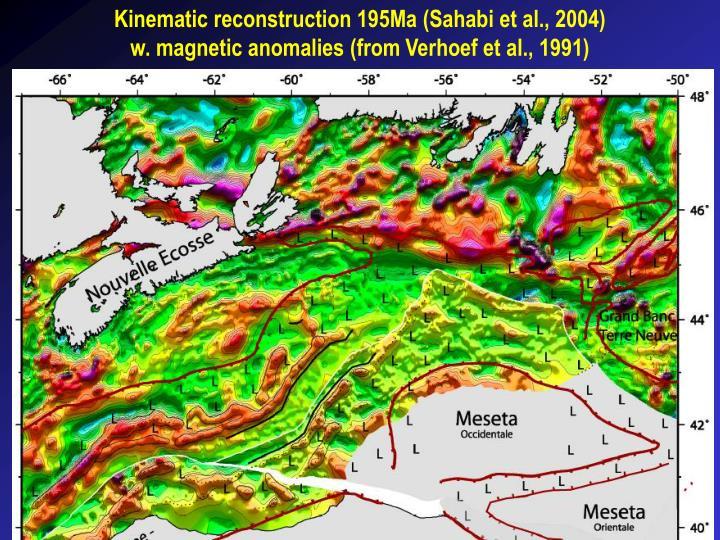 Kinematic reconstruction 195Ma (Sahabi et al., 2004) w. magnetic anomalies (from Verhoef et al., 1991)