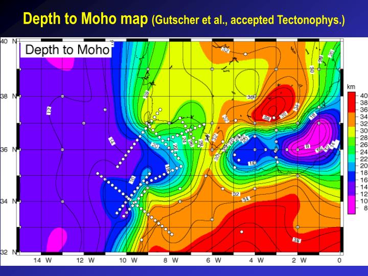 Depth to Moho map