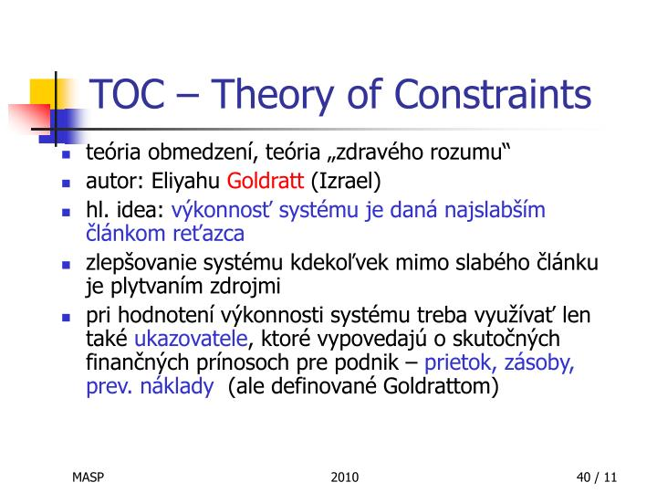 TOC – Theory of Constraints