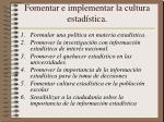 fomentar e implementar la cultura estad stica