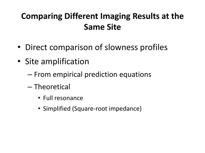 Comparing Different Imaging Results at the Same Site