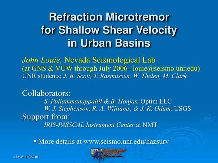 Refraction microtremor for shallow shear velocity in urban basins
