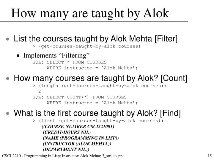 How many are taught by Alok