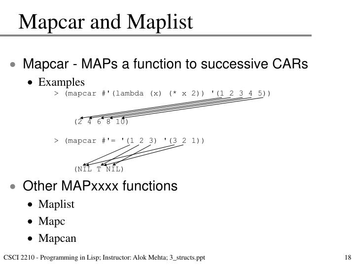Mapcar and Maplist