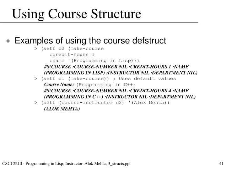 Using Course Structure