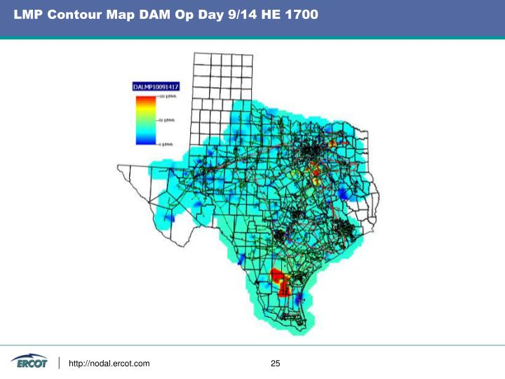 LMP Contour Map DAM Op Day 9/14 HE 1700