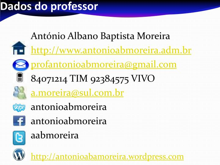 Dados do professor