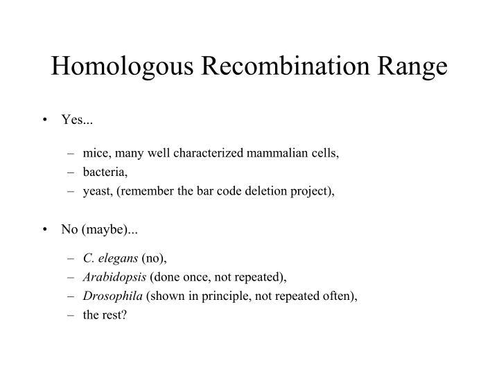 Homologous Recombination Range