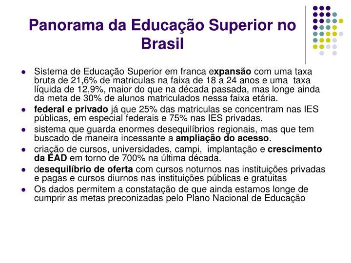 Panorama da educa o superior no brasil