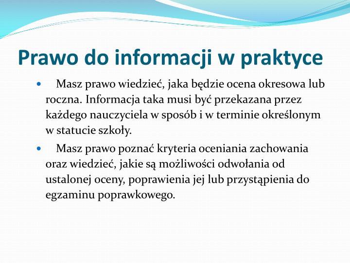 Prawo do informacji w praktyce