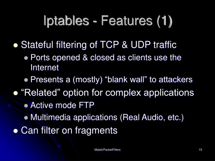 Iptables - Features (1)