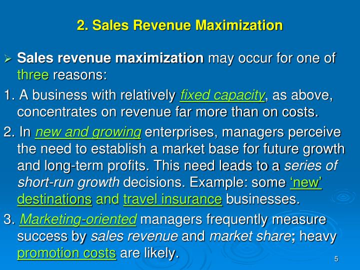 2. Sales Revenue Maximization