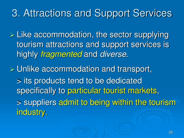 the tourism industry within the service