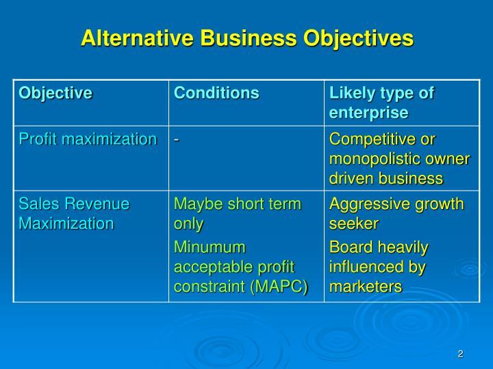 Alternative business objectives