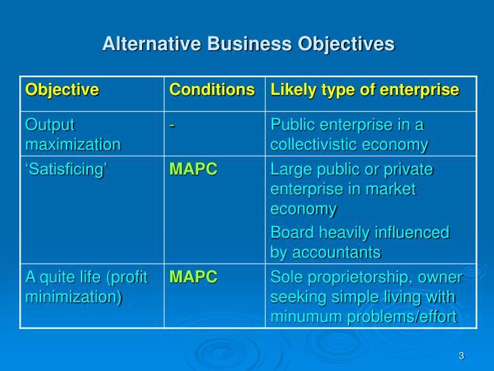 Alternative business objectives1