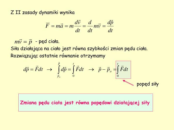 Z II zasady dynamiki wynika