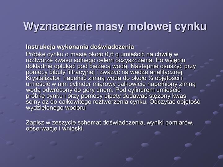 Wyznaczanie masy molowej cynku1