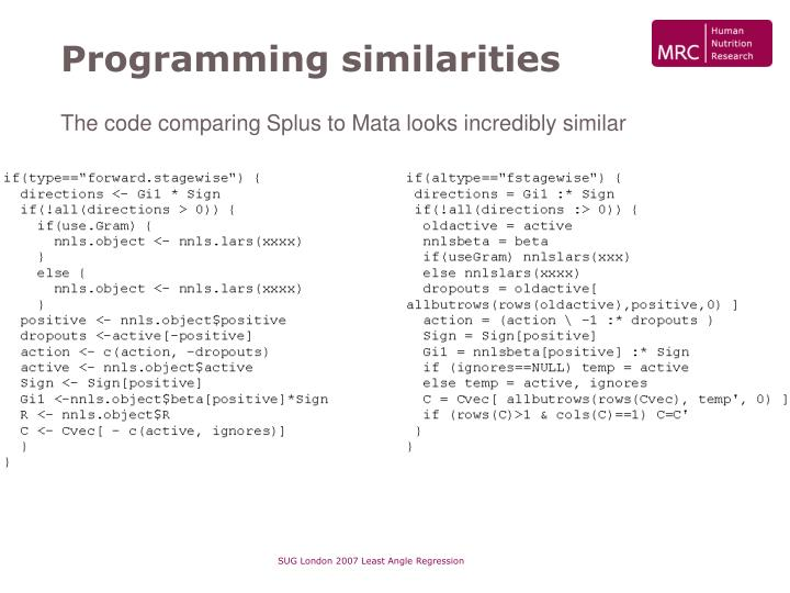 Programming similarities