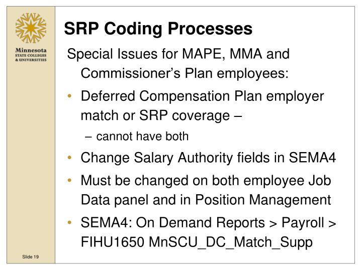 SRP Coding Processes