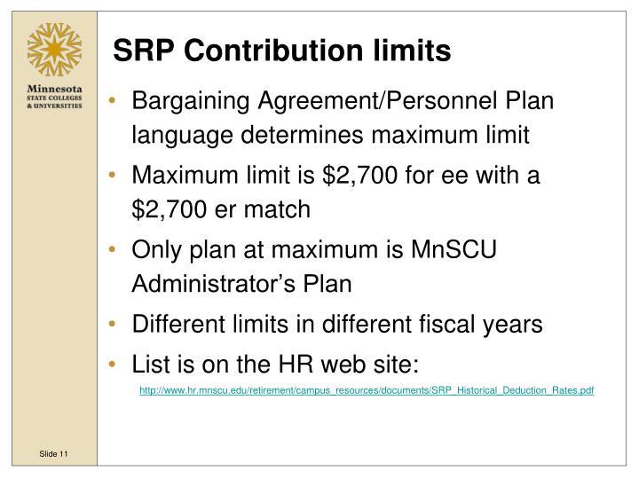 SRP Contribution limits