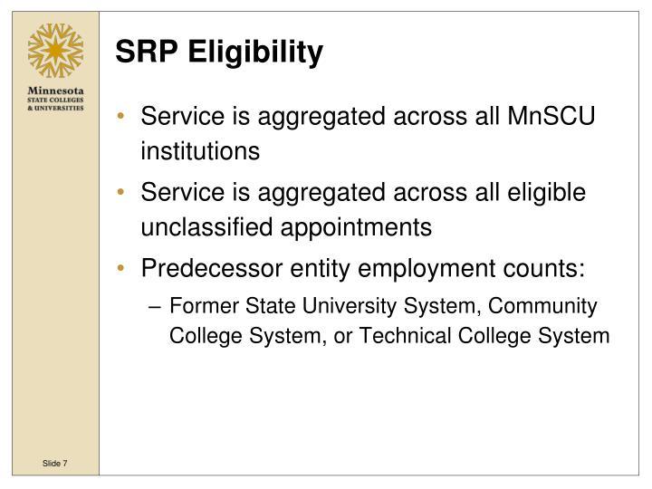 SRP Eligibility