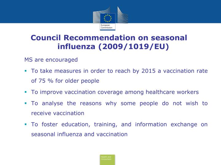 Council Recommendation on seasonal influenza (2009/1019/EU)