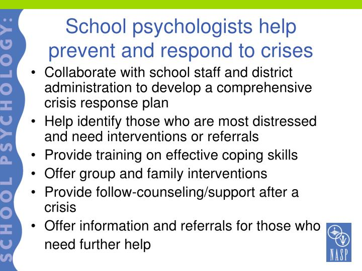 School psychologists help prevent and respond to crises