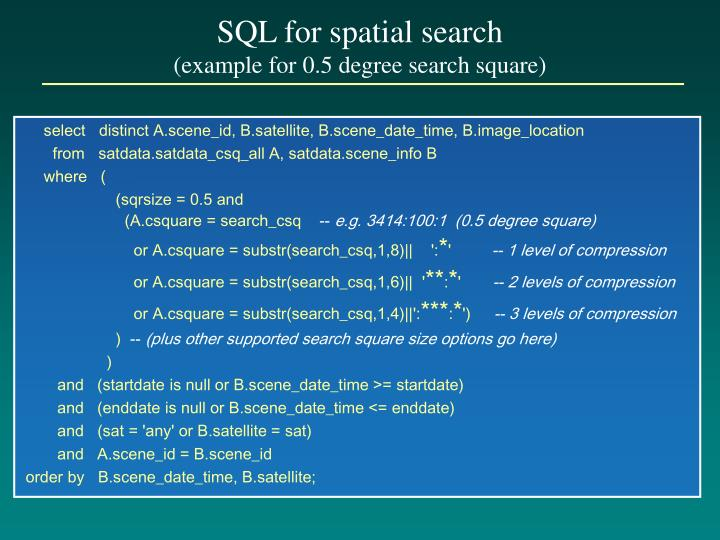 SQL for spatial search