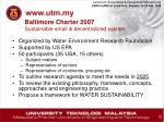 baltimore charter 2007 sustainable small decentralized system