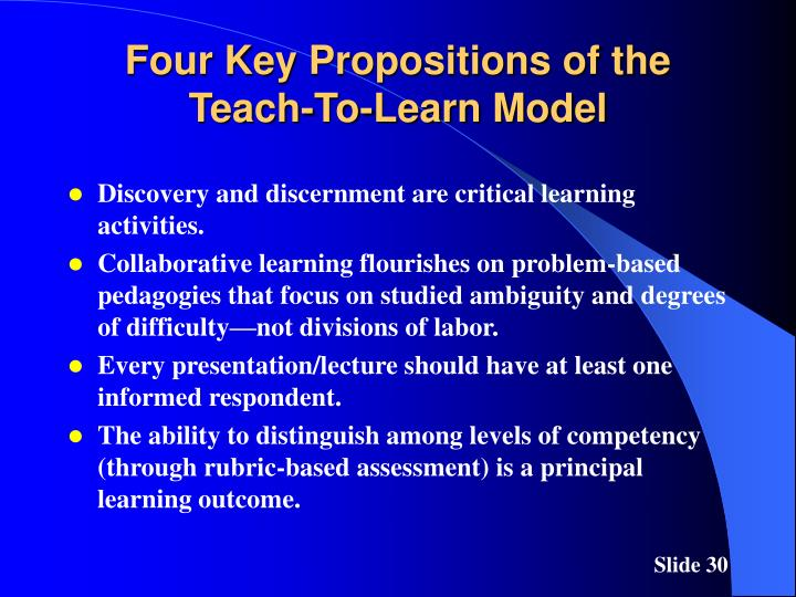 Four Key Propositions of the Teach-To-Learn Model