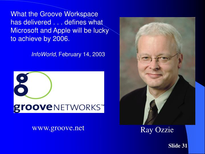 What the Groove Workspace has delivered . . . defines what Microsoft and Apple will be lucky to achieve by 2006.