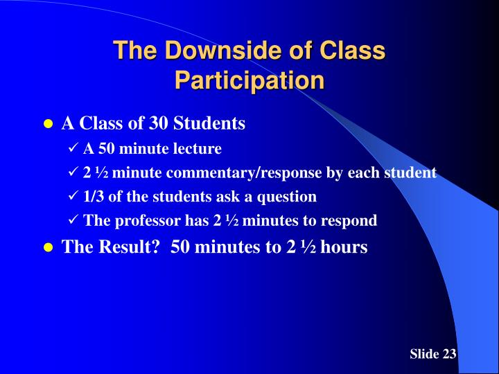 The Downside of Class Participation