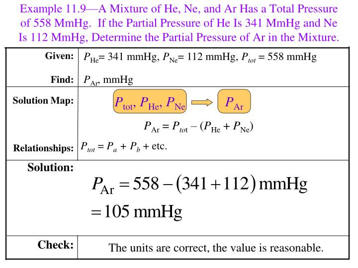 Example 11.9—A Mixture of He, Ne, and Ar Has a Total Pressure of 558 MmHg.  If the Partial Pressure of He Is 341 MmHg and Ne Is 112 MmHg, Determine the Partial Pressure of Ar in the Mixture.