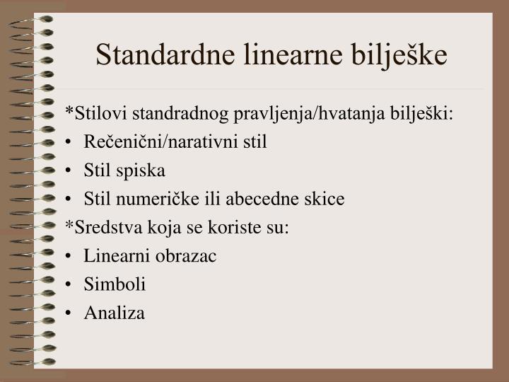 Standardne linearne bilješke