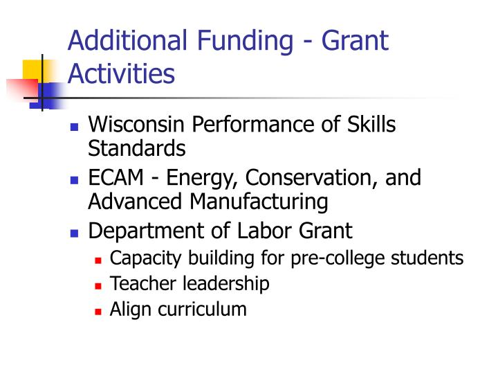 Additional Funding - Grant Activities