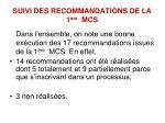 suivi des recommandations de la 1 re mcs