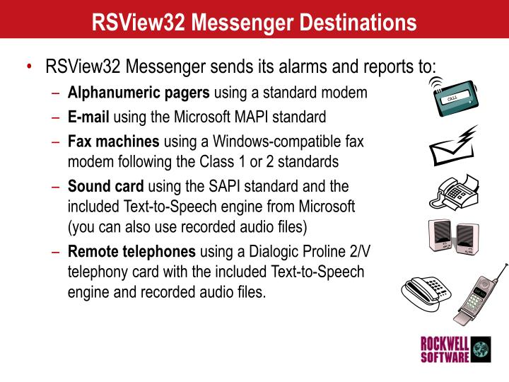 RSView32 Messenger Destinations