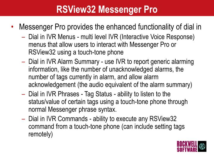 RSView32 Messenger Pro