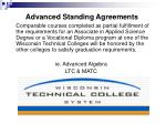 advanced standing agreements
