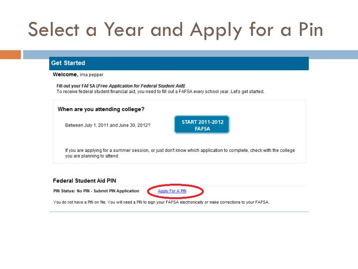Select a Year and Apply for a Pin