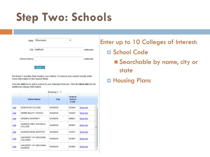 Step Two: Schools