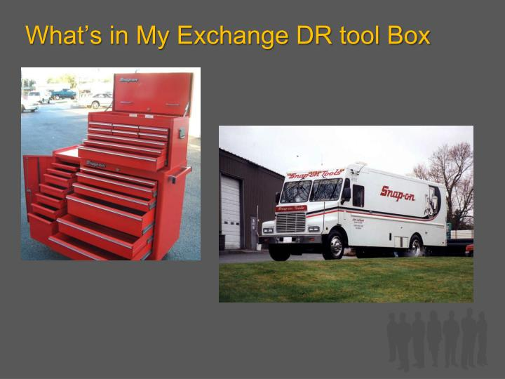 What s in my exchange dr tool box