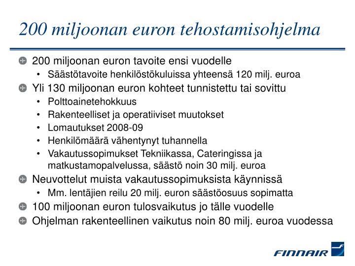 200 miljoonan euron tehostamisohjelma