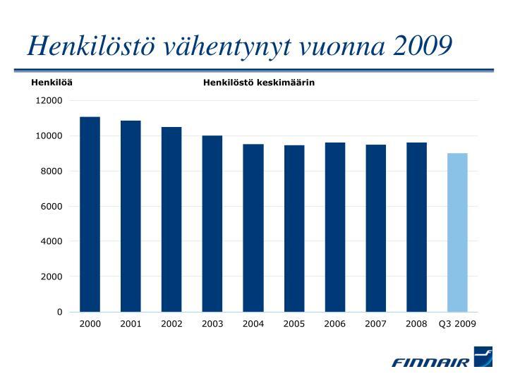 Henkilöstö vähentynyt vuonna 2009