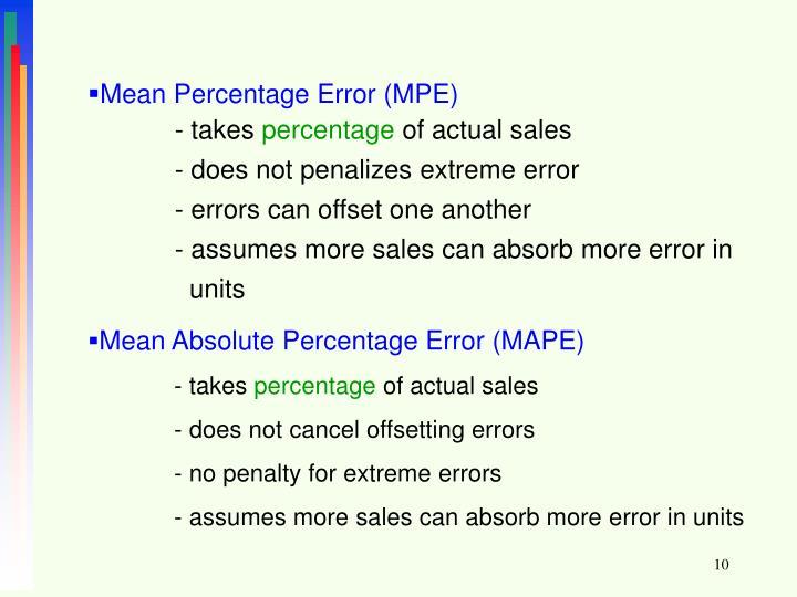 Mean Percentage Error (MPE)