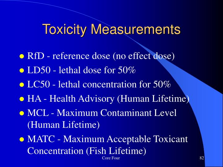 RfD - reference dose (no effect dose)