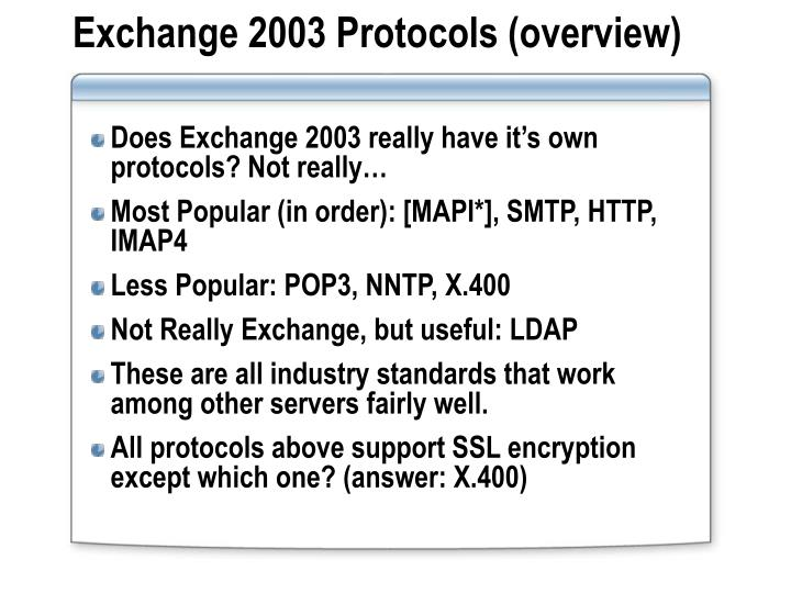 Exchange 2003 protocols overview