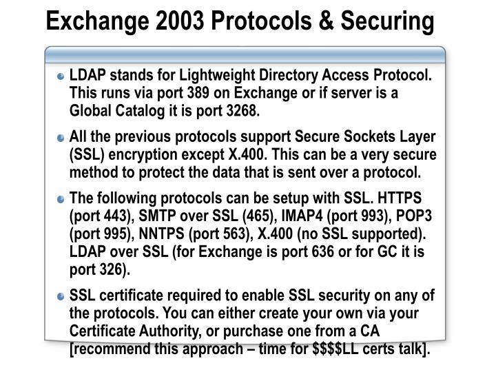 Exchange 2003 Protocols & Securing