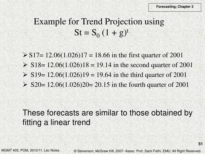 Example for Trend Projection using
