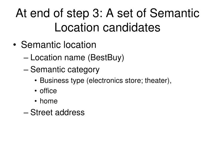 At end of step 3: A set of Semantic Location candidates